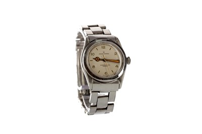 Lot 710 - A ROLEX OYSTER STAINLESS STEEL MANUAL WIND WRIST WATCH