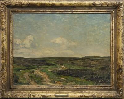 Lot 15 - GRASSINGTON MOOR, AN OIL BY REGINALD GRANGE BRUNDRIT