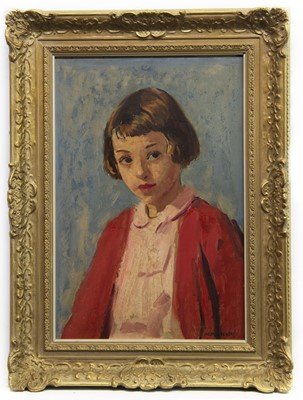Lot 25 - GIRL IN RED, AN OIL BY PHILIP NAVIASKY