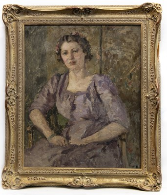 Lot 20 - PORTRAIT OF A YOUNG LADY SEATED IN A LILAC DRESS, AN OIL BY DAME ETHEL WALKER