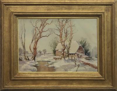 Lot 9 - SNOW SCENE IN KENT, A WATERCOLOUR BY JOHN WILSON