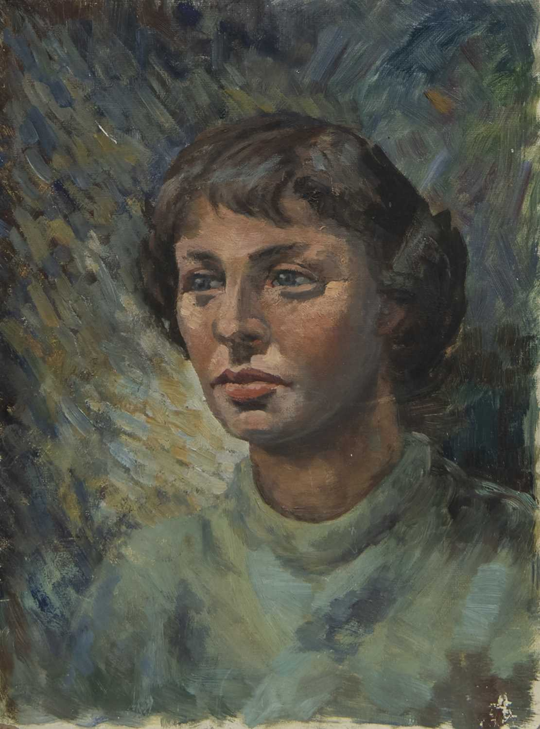 Lot 59 - OIL PORTRAIT OF A YOUNG LADY
