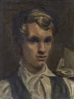 Lot 14 - AN OIL PORTRAIT OF A YOUNG MAN ATTRIBUTED TO BERNARD FLEETWOOD-WALKER