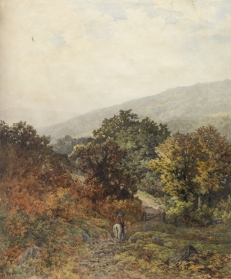 Lot 30 - TRAVELLER IN THE FOREST, AN ENGLISH WATERCOLOUR