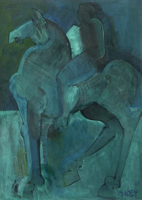 Lot 187 - STUDY OF A HORSE AND RIDER, AN ACRYLIC BY GEOFFREY KEY