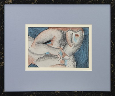 Lot 188 - RESTING FIGURE, A MIXED MEDIA BY GEOFFREY KEY