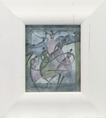 Lot 100 - LINE DANCERS, A WATERCOLOUR BY MADELEINE HAND