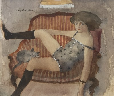 Lot 128 - GIRL AND CONTENTED CAT,  A WATERCOLOUR BY MARYSIA DONALDSON