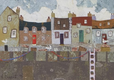 Lot 101 - FISHERMAN'S ROW, A MIXED MEDIA COLLAGE BY MARGARETANN BENNETT