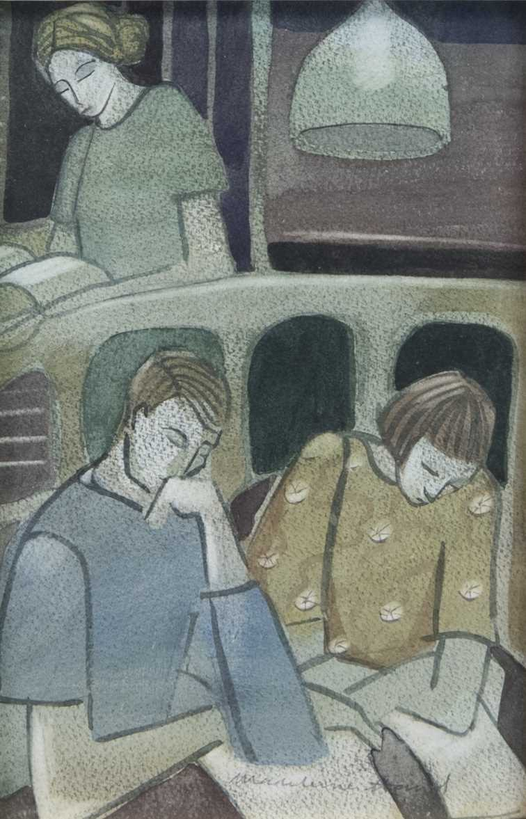 Lot 44 - NIGHT AT THE LIBRARY, A WATERCOLOUR BY MADELEINE HAND