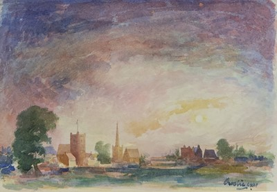 Lot 64 - VILLAGE AT SUNSET, 1972, A WATERCOLOUR BY WILLIAM CROSBIE