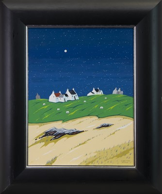 Lot 25 - MOONLIT COTTAGES AND SHEEP, BY JOHN WETTEN BROWN