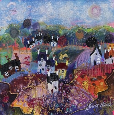 Lot 105 - VILLAGE LIFE, A MIXED MEDIA BY SARA MEAD