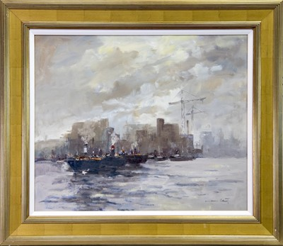 Lot 30 - BOATS ON THE CLYDE, AN OIL BY WILLIAM NORMAN GAUNT