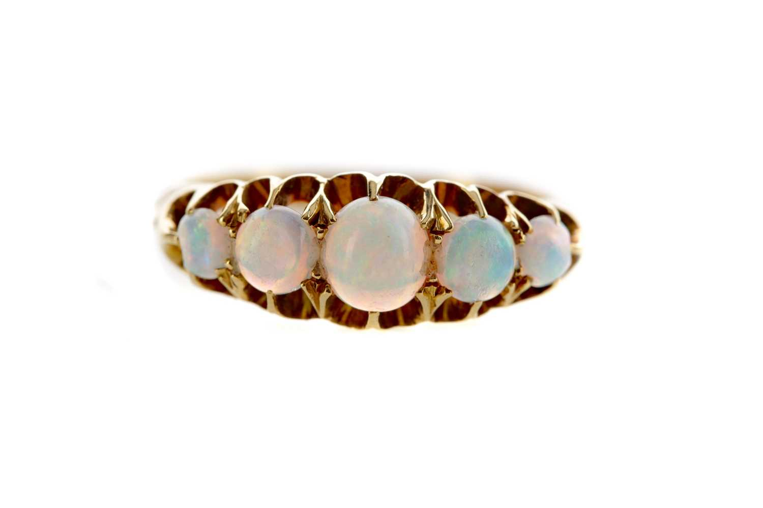 Lot 1329 - AN OPAL FIVE STONE RING