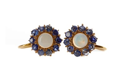 Lot 1333 - A PAIR OF SAPPHIRE AND OPAL EARRINGS