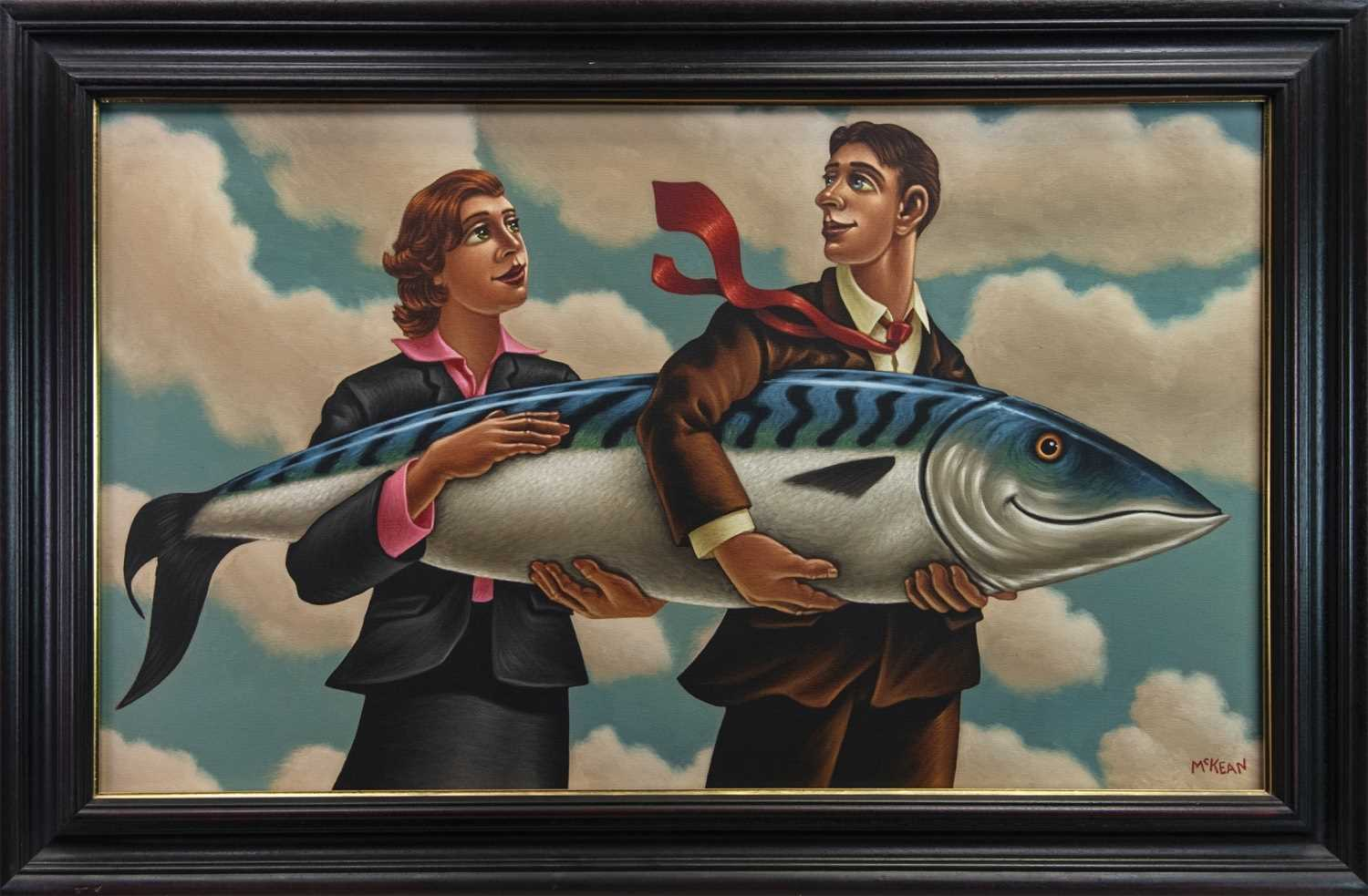 Lot 7 - BIGGER FISH TO FRY, A LARGE OIL BY GRAHAM MCKEAN