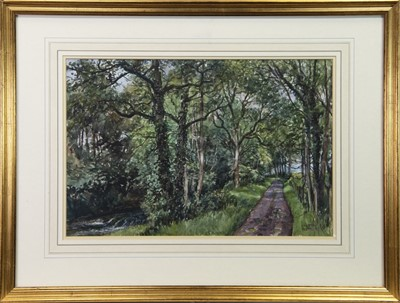 Lot 17 - THE AVENUE, ARBIRLOT, A WATERCOLOUR BY JAMES MCINTOSH PATRICK