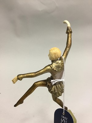 Lot 1641 - AN ART DECO BRONZE AND IVORY FIGURE OF A BALLERINA, BY JOSEF LORENZL
