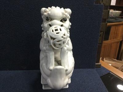 Lot 742 - A CHINESE BLANC DE CHINE FOE DOG