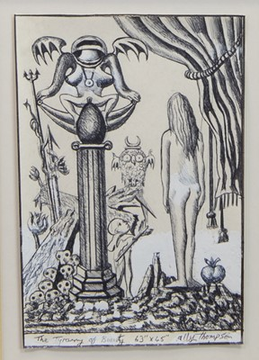 Lot 43 - THE TYRANNY OF BEAUTY, AN INK ON PAPER BY ALLY THOMPSON