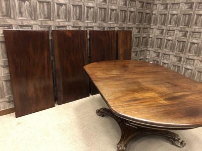 Lot 1645 - A MID-19TH CENTURY MAHOGANY TELESCOPIC DINING TABLE