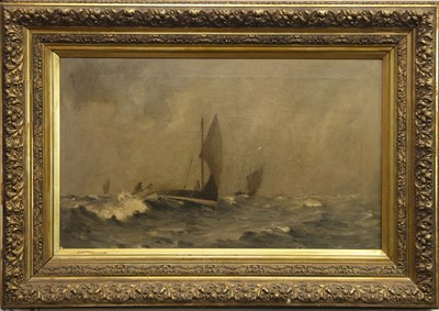 Lot 54 - SAILBOATS IN ROUGH SEAS, AN OIL BY JOHN CAMPBELL MITCHELL