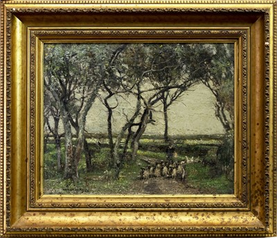 Lot 42 - SHEEP DRIVING ON A COUNTRY PATH, AN OIL BY WILLIAM PAGE ATKINSON WELLS