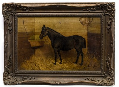 Lot 32 - HORSE IN A STABLE, A BRITISH OIL
