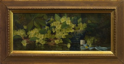 Lot 44 - STILL LIFE WITH FLOWERS AND A CHINESE BOWL, AN OIL BY ELIZABETH TREBOR SUTCLIFFE
