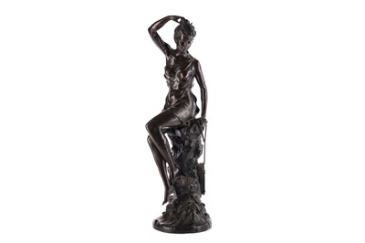 Lot 1642 - A PATINATED BRONZE SCULPTURE OF A YOUNG MAIDEN BY LUCIE SIGNORET-LEDIEU (FRENCH, 1858-1904)