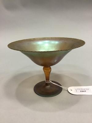 Lot 1069 - AN WMF ART NOUVEAU IRIDESCENT IKORA GLASS COMPORT
