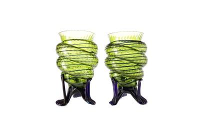 Lot 1074 - A PAIR OF ART NOUVEAU GLASS VASES