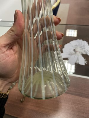 Lot 1077 - A PAIR OF EARLY 20TH CENTURY OPALESCENT GLASS VASES