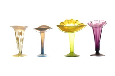 Lot 1078 - A LATE 19TH CENTURY VASELINE GLASS JACK-IN-THE-PULPIT VASE ALONG WITH ANOTHER AND TWO TRUMPET VASES