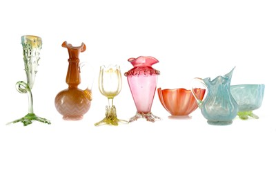 Lot 1080 - A LATE VICTORIAN URANIUM GLASS VASE ALONG WITH SIX OTHER EXAMPLES