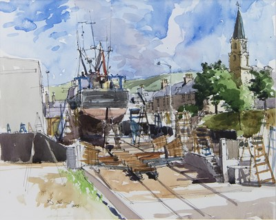 Lot 67 - GIRVAN SHIPYARD, A WATERCOLOUR BY DOUGLAS LENNOX