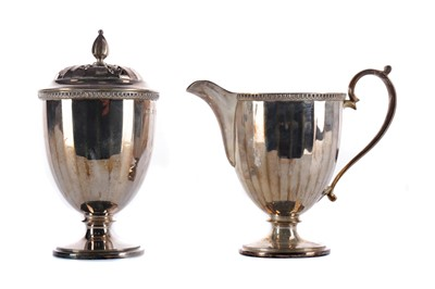 Lot 522 - A CASED EARLY 20TH CENTURY SUGAR CASTER AND MILG JUG