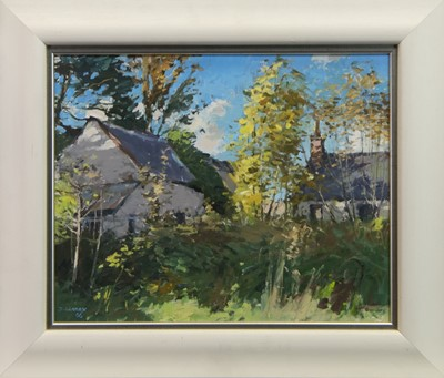 Lot 69 - COTTAGES AT STAIR, AN OIL BY DOUGLAS LENNOX
