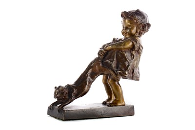 Lot 1686 - A COLD PAINTED BRONZE FIGURE GROUP OF A GIRL PULLING A CAT, BY JUAN CLARA (SPANISH, 1875-1958