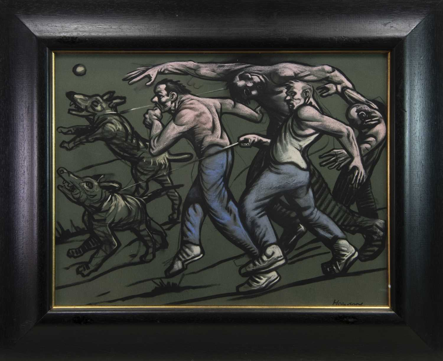 Lot 674 - BAND OF BROTHERS, A PASTEL BY PETER HOWSON