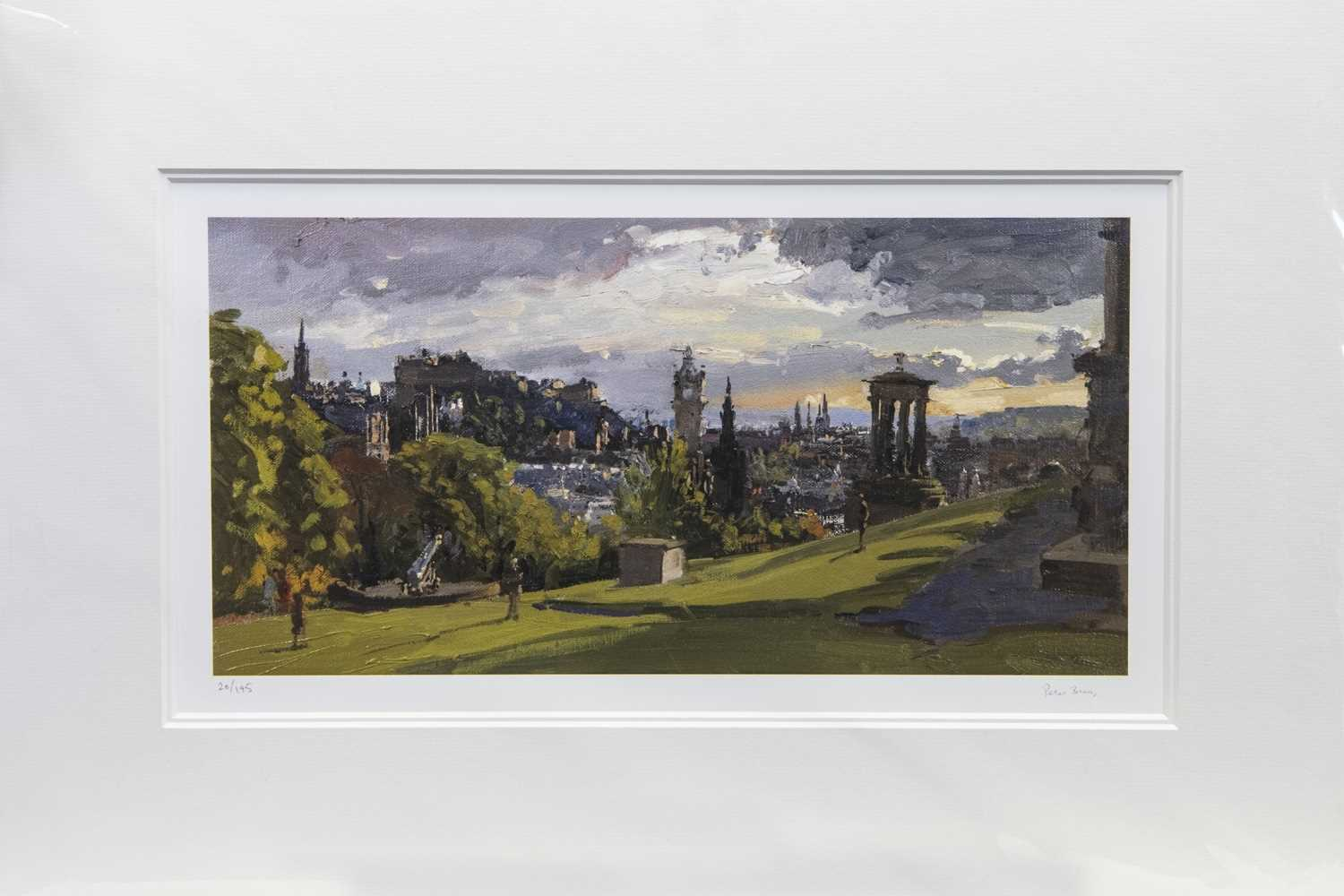 Lot 129 - EARLY MAY EVENING FROM CALTON HILL, A PRINT BY PETER BROWN