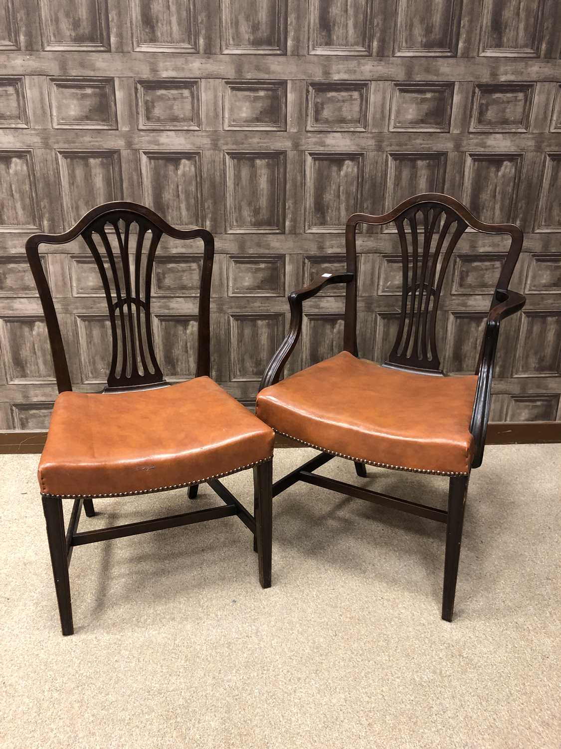 Lot 1659 - A SET OF EIGHT HEPPLEWHITE STYLE MAHONGANY DINING CHAIRS