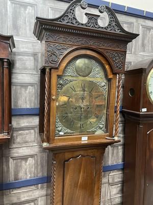 Lot 1704 - AN EARLY 19TH CENTURY MAHOGANY LONGCASE CLOCK