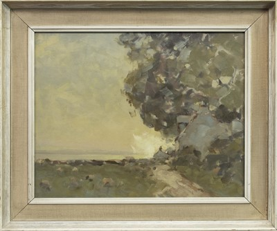 Lot 79 - WOODEN LANDSCAPE, AN OIL BY HAROLD STOREY