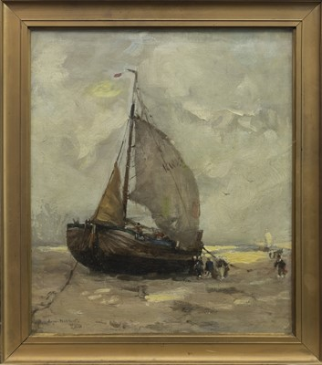 Lot 77 - BEACHED SAILING BARGE, AN OIL BY EUGENE DEKKERT