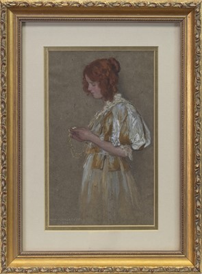 Lot 83 - THE LOCKET, A WATERCOLOUR BY WILLIAM HENRY MARGETSON