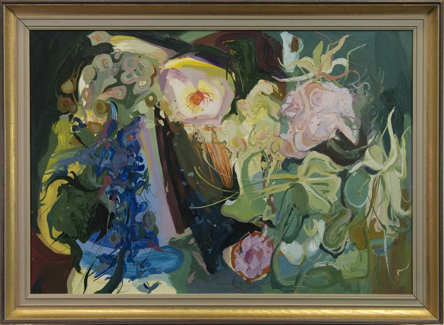 Lot 107 - STILL LIFE WITH FLOWERS, AN OIL BY JAMES HARRIGAN