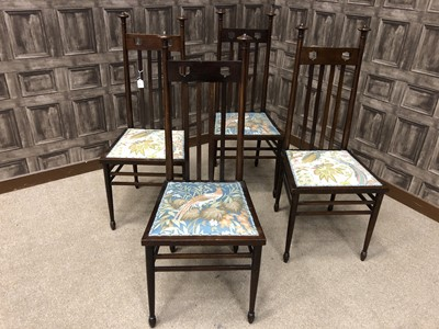 Lot 1669 - A SET OF FOUR MAHOGANY CHAIRS OF ARTS & CRAFTS DESIGN