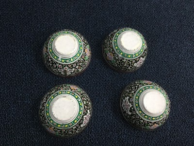 Lot 746 - A SET OF FOUR MIDDLE EASTERN ENAMELLED BOWLS